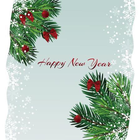Árbol de Navidad con hermosas luces. Rama aislada. Ilustración de vector sobre fondo hermoso. Ilustración de vector