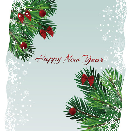 Christmas tree with beautiful lights. Branch isolated. Vector illustration on beautiful background. Vektorové ilustrace