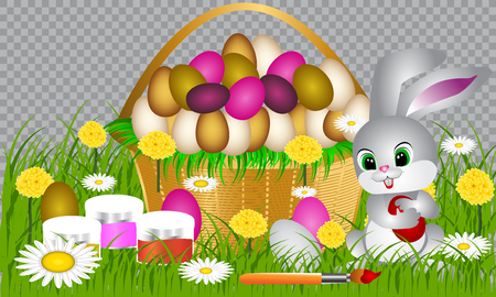 Happy Easter. Color Easter eggs set with different patterns. Set of Easter eggs on white background.Spring holiday. Vector Illustration.Happy easter eggs  イラスト・ベクター素材