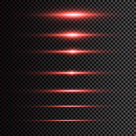 Abstract laser beam. Transparent isolated on black background. Vector illustration.