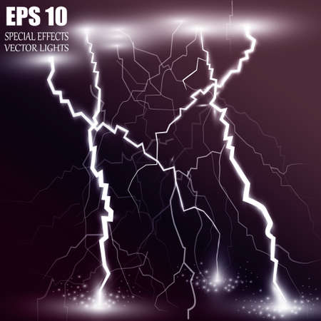 Vector illustration. Lightning and lighting effect. A symbol of natural strength or magic. Light and shine, Abstraction, electricity and explosion Ilustração Vetorial