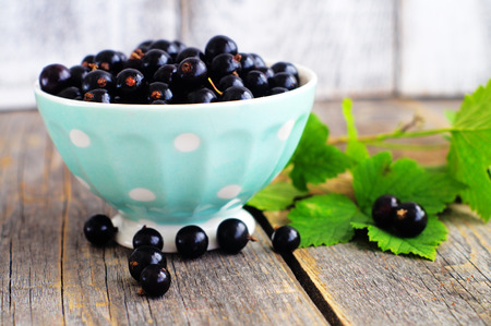 minty:    Berries of blackcurrant in minty dish on the wooden background