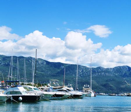 Seaview to the por tof Budva in Montenegro Stock Photo