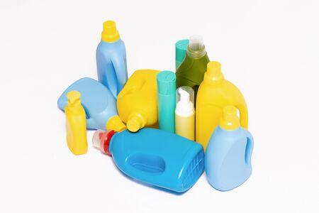 Detergent plastic bottles isolated on white background.
