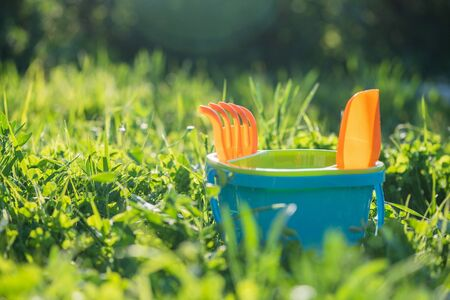 Baby toys a bucket with rake and shovel on the green grass background.