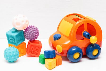 Baby toys on white background.