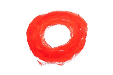 Red paint circle made by gouache isolated on white background. Stok Fotoğraf
