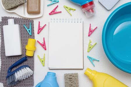 Hand wash tips. Household to do list mockup. Washing accessories flat lay background. Stock Photo