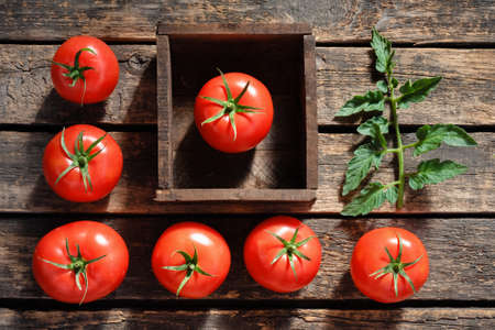 Raw red tomato in a wooden box on garden table background with copy space.