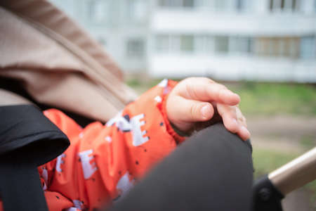 Child hand is holding a handle of baby carriage.