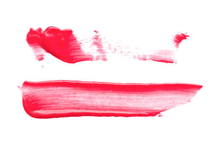 Red lipstick smear isolated on the white background. Banco de Imagens