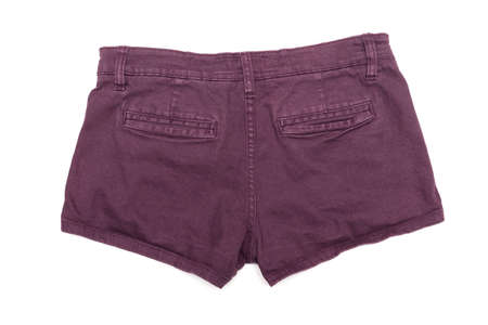 Denim shorts isolated on the white background. Back side. 写真素材