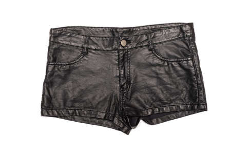 Black leather female shorts isolated on the white background. Top view. Front side.