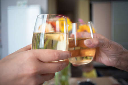 Peoples clinks by the wine glasses with a wine and speak the toasts close up. Celebrate the holiday concept.