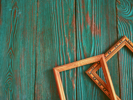 old photograph: Rectangular frame with copy space, on a beautiful authentic wooden background. Stock Photo