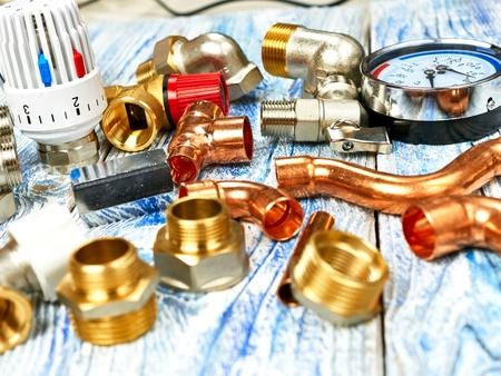 Engineering concept. Project of heating for house. Thermostatic valve, copper fitting project