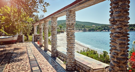 romantic places: Old thrown cafe authentic beach Zanjic Adriatic Sea Montenegro.
