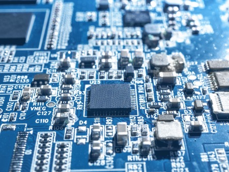 Electronic circuit chip board mother board computer CPU close up Stock Photo