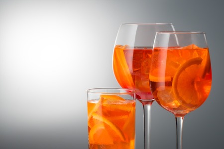 Summer refreshing faintly alcoholic cocktail Aperol spritz