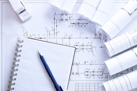 Workplace of engineer designer Project notepad with copy space