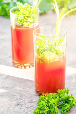 Two glasses of tomato juice homemade from garden organic vegetables decorated with twigs leaves of parsley and celery in table opposite green garden in sunset sunlight.