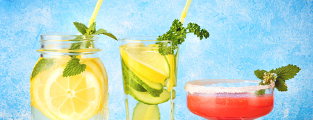Set of three popular diet detox drinks for cleansing Antioxidant Smoothie from red Watermelon, Cucumber Water and Lemonade with Mint Leaves Homemade Food Concept