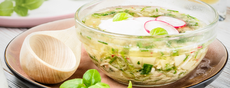 Cold summer soup okroshka traditional russian ukrainian from vegetables radish cucumber and green onions with beverages kvass on light wooden table served with rustic spoon and plate. Zdjęcie Seryjne