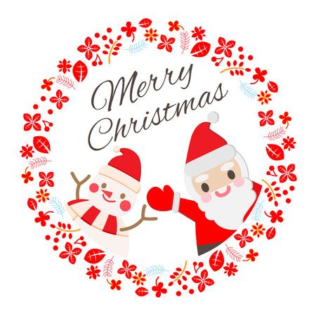 휴일, 카드, 인사, 크리스마스, 기호, 산타, 귀여운, 눈사람