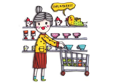 drawing cartoon: kid drawing cartoon cute colorful Stock Photo