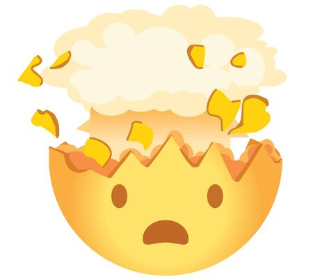 Shocked emoji. Exploding head emoticon. A yellow face with an open mouth and the top of its head exploding in the shape of a brain-like mushroom cloud.