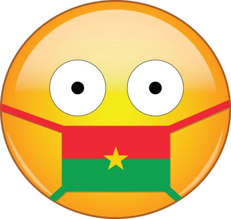 Yellow scared emoji in Burkinabe medical mask protecting from SARS, coronavirus, bird flu and other viruses, germs and bacteria and contagious disease as well as toxic smog in Burkina Faso. Illusztráció