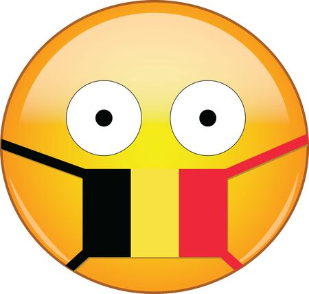 Yellow scared emoji in Belgian medical mask protecting from SARS, coronavirus, bird flu and other viruses, germs and bacteria and contagious disease as well as toxic smog and air pollution in Belgium. Illusztráció