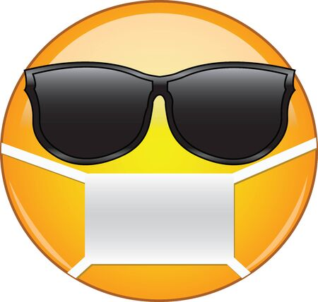Cool emoticon wearing a mask. Yellow emoji wearing sunglasses and health mask to protect from germs, viruses, air pollution and smog.