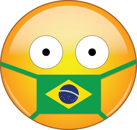 Yellow scared emoji in Brazilian medical mask protecting from SARS, coronavirus, bird flu and other viruses, germs and bacteria and contagious disease as well as toxic smog and air pollution in Brazil Illusztráció