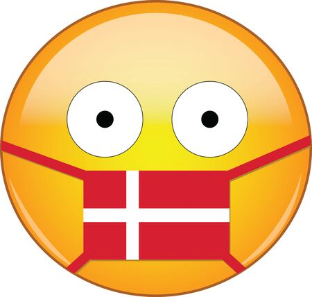Yellow scared emoji in Danish medical mask protecting from SARS, coronavirus, bird flu and other viruses, germs and bacteria and contagious disease as well as toxic smog in Denmark.