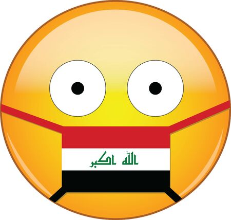Yellow scared emoji in Iraqi medical mask protecting from SARS, coronavirus, bird flu and other viruses, germs and bacteria and contagious disease as well as toxic smog and air pollution in Iraq.