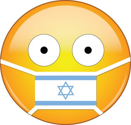 Yellow scared emoji in Israeli medical mask protecting from SARS, coronavirus, bird flu and other viruses, germs and bacteria and contagious disease as well as toxic smog and air pollution in Israel. Illusztráció