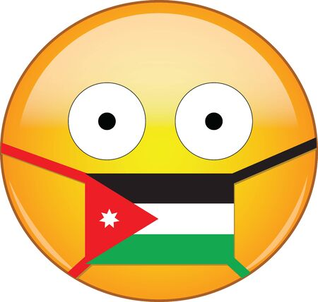 Yellow scared emoji in Jordanian medical mask protecting from SARS, coronavirus, bird flu and other viruses, germs and bacteria and contagious disease as well as toxic smog in Jordania.