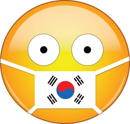 Yellow scared emoji face in South Korean medical mask protecting from SARS, coronavirus, bird flu and other viruses, germs and bacteria and contagious disease as well as toxic smog and air in South Korea.