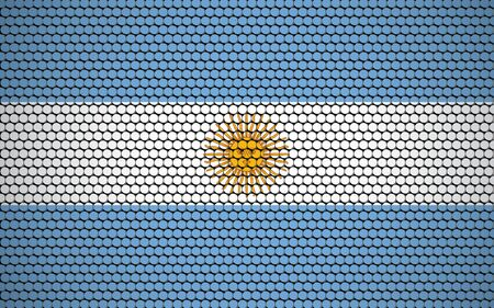 Abstract flag of Argentina made of circles. White, blue Argentinian flag with yellow sun in the center designed with colored circles giving it a modern and abstract look.