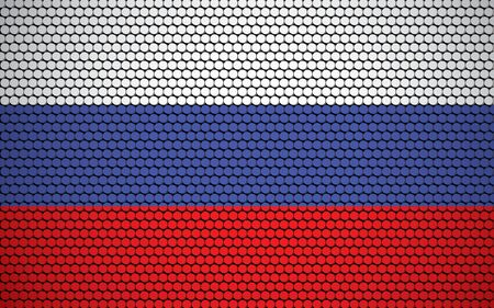 Abstract flag of Russia made of circles. White, blue, red Russian flag designed with colored circles giving it a modern and abstract look. Ilustração