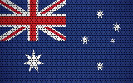 Abstract flag of Australia made of circles. White, navy blue, red Australian flag with white stars designed with colored circles giving it a modern and abstract look.