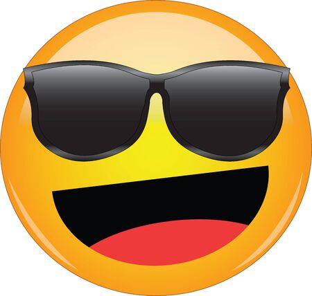 Cool happy emoji in shades. Awesome yellow face emoticon wearing sunglasses with a wide smile and laughing. Expression of happiness, laughter, joy, fun, as well as being cool and awesome.