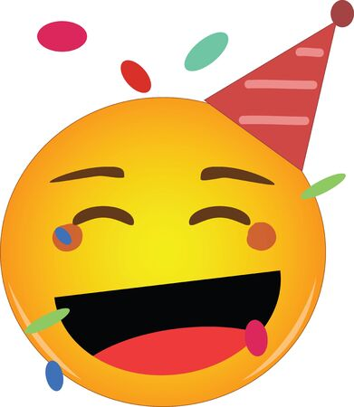 Happy party emoji celebrating birthday in a red hat and confetti flying around! Yellow face with a red party hat, broad smile as if laughing and confetti floats around its head. Happiness and carefree Ilustração