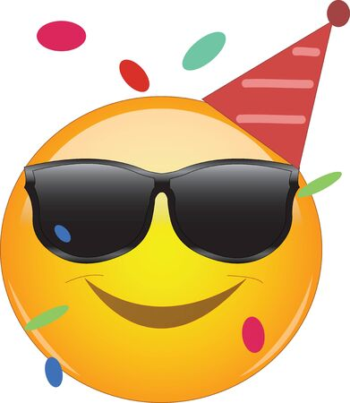 Cool emoji wearing a party hut, sunglasses and confetti flying around. Party emoticon with round yellow face and smiling. Expression of fun, good time, joy, partying and celebrating. Vektorgrafik