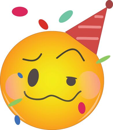 Party emoji celebrating birthday in a red hat and confetti flying around! Yellow face with a red party hat, crumpled mouth, one eye half-closed, blushing cheeks as if being drunk or tipsy.
