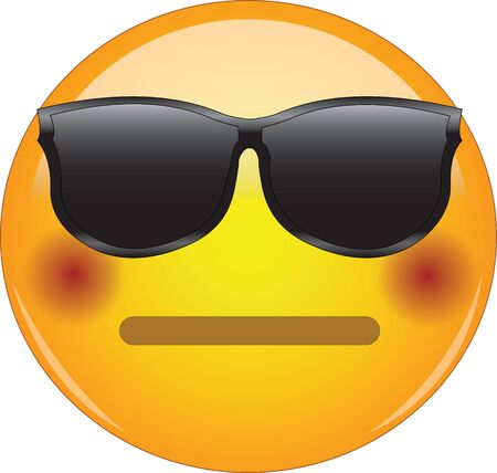 Cool flushed neutral face emoji. Awesome yellow face emoticon wearing sunglasses and having a small, closed mouth and blushing cheeks. Expressing embarrassment, disbelief, excitation. Illustration