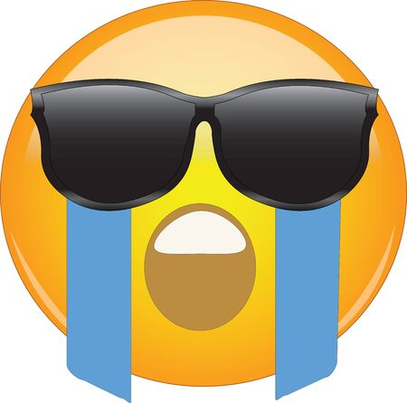 Cool Crying Face Emoji. Yellow face with an open mouth wailing and river of tears flowing from eyes hidden behind sunglasses. Expression of overwhelming grief and sadness, hiding puffy eyes from cry.. Illustration