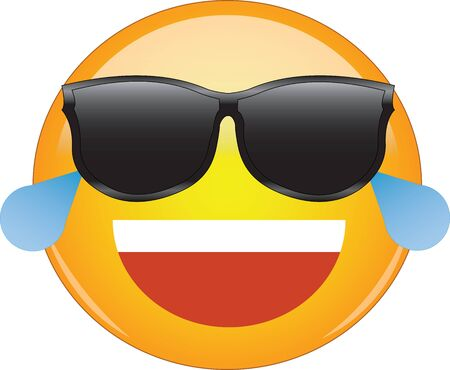 Cool laughing emoticon in shades. Awesome yellow laughing face emoji in sunglasses with a big grin, and shedding tears from laughing so hard. Expression of laughter, something funny or pleasing.