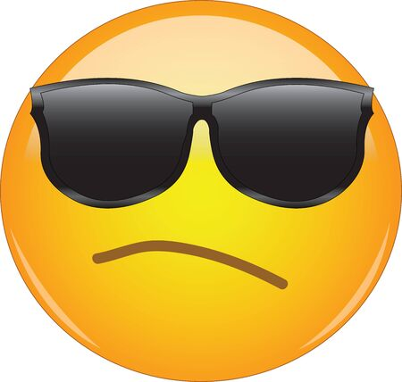 Awesome snobbish and arrogant emoji wearing sunglasses. Yellow face emoticon wearing shades and having small, intent frown as a sign of arrogance and being full of oneself. Ilustración de vector